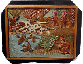 """""""The Hunt"""", circa 1936-1940 Painted bas relief wood carving 20 x 24 inches P.O.R."""