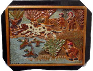 Elijah Pierce  'The Hunt', circa 1936-1940 Painted bas relief wood carving 20 x 24 inches P.O.R.