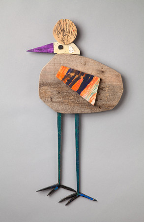 Tamara Jaeger 'Klee Bird', 2015 Found and painted wood assemblage 22 x 11 1/2 x 1 3/8 inches  $950