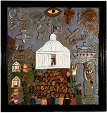 """Elijah Pierce """"Watergate"""", c. 1975 Painted bas relief woodcarving 27 x 25 3/4 inches"""