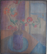 """""""Japanese Vase"""" Woodblock/ Side 1 Blockcut 1931 13 3/4 x 12 inches  Side 2 of this Woodblock:  """"Provincetown Housetops""""  Sold"""