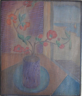 Japanese Vase Grace Martin Taylor Woodblock/ Side 1 Blockcut 1931 13 3/4 x 12 inches  Side 2 of this Woodblock:  Provincetown Housetops  Sold