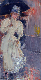 """Childe Hassam """"A Rainy Day, New York"""", 1890-1892 Oil on canvas 12 x 6 inches Signed lower left: Childe Hassam"""