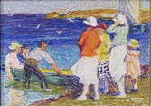 """Edward Potthast """"Windy Day at the Shore"""", c. 1923-24 Crayon on paper 5 x 7 inches Signed lower right: E. Potthast"""