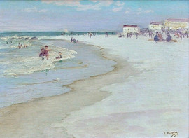 """Edward Potthast (American, 1857-1927) """"At the Beach"""", c. 1915-20 Oil on canvas board 12 x 16 inches Signed lower right: E. Potthast  P.O.R."""