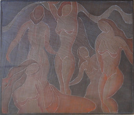 Bathers Grace Martin Taylor Woodblock/ Side 2 Block cut 1935 11 7/8 x 13 3/4 inches  On side 1 of this Woodblock: Lily  Sold