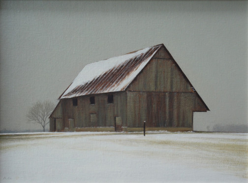 """Alan Gough """"Winter Set"""", 2020 Oil on panel 9 x 12 inches  Sold"""