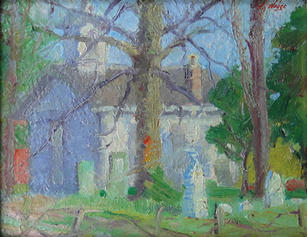 """James A. Weber (1882-1958) """"Sunlit Church and Trees"""", circa 1915-20 Oil on panel 8 x 10 inches  P.O.R"""