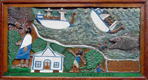 """Elijah Pierce """"Jonah and the Whale"""", 1949 Painted bas relief woodcarving 15 1/4 x 28 1/2 inches"""