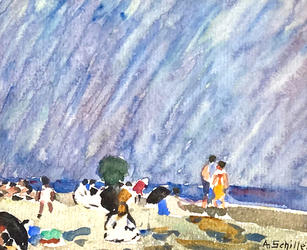 """Alice Schille (1869-1955) """"Morning at the Beach"""", Circa 1916-18  4 ¼ x 5 ¼ inches Signed Lower right: A. Schille  P.O.R."""
