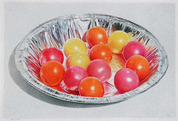 Lowell Tolstedt  'Ellipse with Gumballs', 2010 Colored pencil 9 3/4 x 14 1/4 inches  $4,750