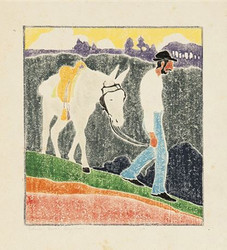 """Edna Boies Hopkins """"The Mountaineer (Andy Walking with his Mule)"""", 1917 Color woodcut 10 1/8 x 9 1/8 inches Signed in pencil Vasseu 15"""