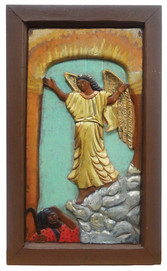"""Elijah Pierce """"The Angel of Faith (appears to Joseph)"""", 1932 Painted bas relief woodcarving 23 x 14 1/2 inches"""