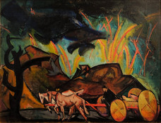 """William Sommer """"Horse Drawn Cart in Thunderstorm"""", c. 1918 Oil on board 20 x 25 1/2 inches"""