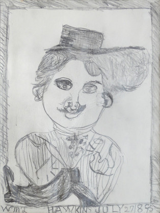 """""""Charlie Chaplin"""", c. 1980s Graphite on paper 12 x 9 inches Sold"""