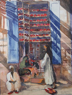 """Ralph Fanning (1889-1971) """"Shoe Bazaar, Assuan"""", c. 1930 Watercolor on paper 12 3/8 x 9 3/8 inches Signed and titled lower right: """"Shoe Bazaar Assuan Ralph Fanning""""  P.O.R."""