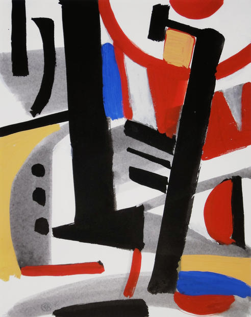 Edmund Kuehn (Historic, 1916-2011) 'Urban Calligraphy', 1990 Gouache 10 x 8 inches      $1,750