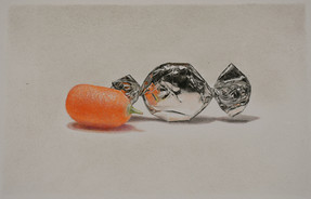 """Lowell Tolstedt """"Kumquat with Wrapped Candy"""", 2019 Colored pencil 5 ⅜ x 8 ¼  inches  $1,800"""