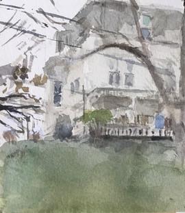 "Neil Riley 'State Street, Montpelier', 2014 Watercolor on p.aper. 4 1/2"" x 5""  $700"