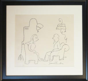 """James Thurber (1894-1961)  """"I'd give the world to be sultry"""", 1945 Graphite on paper 18 x 21 inches Signed lower right: James Thurber 18 x 21 inches New Yorker stamp verso  Published: The New Yorker, September 22, 1945  Provenance: Rosemary Thurber (the Artist's daughter)  P.O.R."""