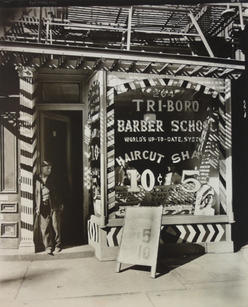 """Berenice Abbott (1898-1991) """"Tri-Boro Barber School, 264 Bowery"""", 1935  Vintage gelatin silver print, printed circa 1935 9 7/8 x 7 7/8 inches Titled, dated and annotated in pencil with photographer's credit stamp on print verso.  P.OR."""