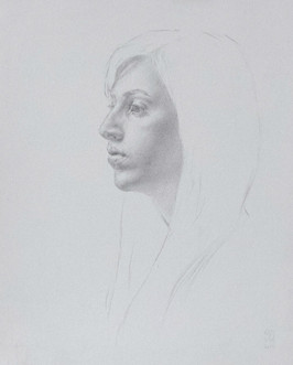 """Mary Jane Ward 'Young Woman in Profile (Valerie)' Silverpoint on paper. 9"""" x 11"""" 2019  $700"""