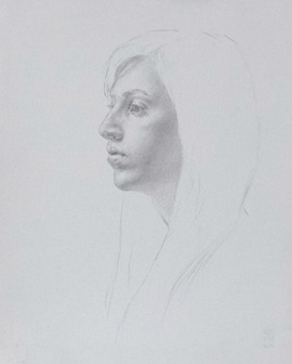 "Mary Jane Ward 'Young Woman in Profile (Valerie)' Silverpoint on paper. 9"" x 11"" 2019  $700"