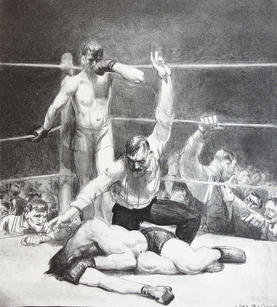 """George Wesley Bellows (1882-1925) """"Counted Out, First Stone"""", 1921  Lithograph on China paper 12 ⅜ x 11 ⅛ inches Annotated by printer, titled and  signed """"G. Bellows"""" Mason catalogue raisonne #: 94 exhibition: ____  P.O.R."""