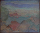 View from South Hills Grace Martin Taylor Woodblock/ Side 2 Block cut 1932 12 x 13 3/4 inches  On Side 1 of this Woodblock: Cape Cod Sand Dunes  $3,000.00