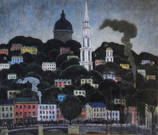 """Edward Manigault """"A New England Town"""", 1911 Oil on canvas 20 1/4 x 24 1/4 inches Signed and dated lower right: Manigault 1911"""
