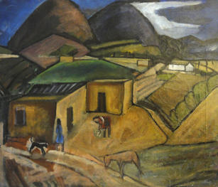 """Lucius Kutchin (1901-1936) """"New Mexico Landscape (Atalaya)"""", c. 1936  Oil on canvas 19 x 23 inches  Sold"""