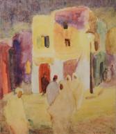 "Alice Schille ""Tunisian Nocturne"", c. 1922 Watercolor 21 x 18 inches Signed lower right: A. Schille"