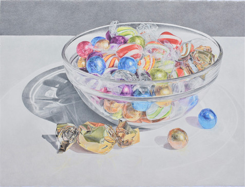 """Lowell Tolstedt """"Glass Bowl With Wrapped Candy"""", 2020 Colored pencil 22 1/2 x 30 inches  Sold to The Columbus Museum of Art"""