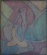 The Model Grace Martin Taylor Woodblock/ Side 1 Block cut 1928 13 3/4 x 12 inches  On Side 2 of this Woodblock: Untitled (Madonna and Child)  $3,000.00