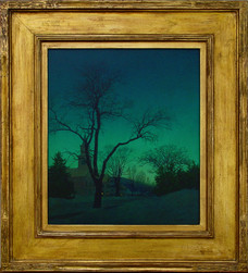 """Maxfield Parrish """"Village Street, Winter"""", 1941 Oil on masonite 15 x 13 inches Signed and dated lower right: Maxfield"""
