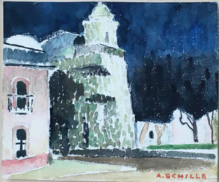 "Alice Schille (1869-1955) ""Dusk, Oaxaco"", Circa 1934  Watercolor on paper 5 ⅛ x 6 ⅛ inches Signed lower right: A. Schille  P.O.R."