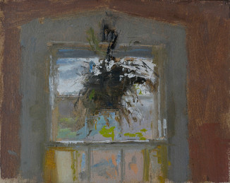 Neil Riley 'Hanging Plant' Oil on panel 5 7/8 x 7 3/8 inches  $1,200