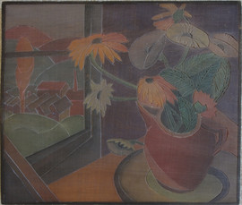 Studio Window Grace Martin Taylor Woodblock/ Side 1 Block cut 1932 12 x 13 3/4 inches  On side 2 of this Woodblock: Charlestown Cottages  $4,000.00