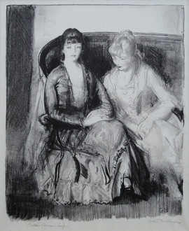 """George Wesley Bellows (American, 1882-1925) """"Emma and Marjorie on a Sofa"""", 1921 Lithograph 10 1/4 x 8 1/4 inches  P.O.R."""