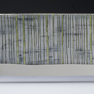 Carol Snyder (Contemporary) 'Birch and Moss, Mt. Lafayette', 2019  Wall piece | High fired porcelain, incised and inlaid tile mounted to plexiglass 6h x 15 1/2w inches  $700
