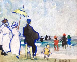 """Alice Schille (1869-1955) """"The Yellow Parasol"""", Circa 1916-18  Watercolor 4 ¼  x 5 ¼ inches   P.O.R."""