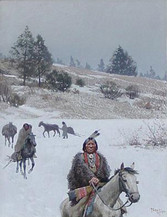 """Henry Farny """"Indians in Winter, Moving Camp"""", 1904 Gouache Signed"""
