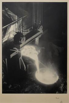 "Margaret Bourke-White ""Otis Steel Mill, Cleveland"", Printed c. 1928 Gelatin silver print 18 3/4 x 13 1/4 inches Signed lower right margin: Bourke / White"