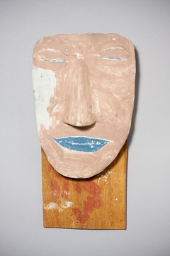 Tamara Jaeger 'Mr. Wa', 1995 Found and painted wood assemblage with clay 14 x 7 1/4 x 3 inches  $950
