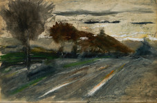 """J. Frank Currier """"Schleissheim"""", 1882 Watercolor 15 x 21 3/4 inches Signed, annotated and dated lower right: Currier Schleissheim 82"""