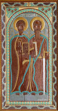 John Perates (American, 1895-1970) St. Peter and St. Paul, Circa 1940s Painted and carved wood relief 73 7/8 x 38 x 5 1/8 inches Acquired by High Museum of Art, Atlanta