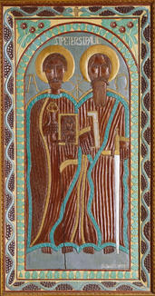"""John Perates (American, 1895-1970) """"St. Peter and St. Paul"""", Circa 1940s Painted and carved wood relief 73 7/8 x 38 x 5 1/8 inches Acquired by High Museum of Art, Atlanta"""