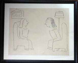 """James Thurber (1894-1961)  """"I've always wanted to get just the least bit tipsy in the Jumble Shop"""", 1945 Graphite on paper 30 1/2 x 39 inches Signed lower right: Thurber Published: The New Yorker, May 9, 1942  P.O.R."""
