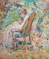 """Alice Schille """"Mother and Child in a Garden, France"""", c. 1911-12 Watercolor on paper 23 1/2 x 19 1/2 inches Signed lower left: A. Schille"""
