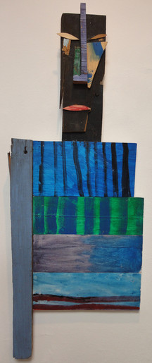 Tamara Jaeger 'African Stripes', 1998 Mixed media assemblage 35 x 13 x 1 inches  $1,500